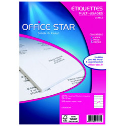 Etiquettes multi-usages OFFICE STAR OS43474 - 70x37mm - 100 Planches A4 - NEUVES