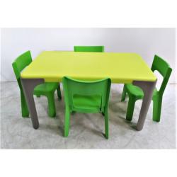 Ensemble table rectangulaire avec ses 4 chaises WESCO  T1 - Hauteur assise 30...