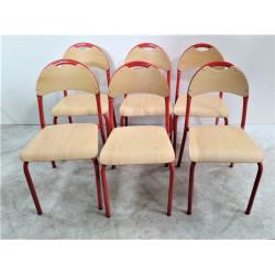 Lot de 6 chaises scolaire WESCO T2 - Hauteur assise 31 cm  Couleur Rouge NEUF...