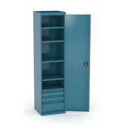 Armoire haute d'atelier HECO 1950 X 500 mm 5 tablettes + 3 tiroirs 157 12...