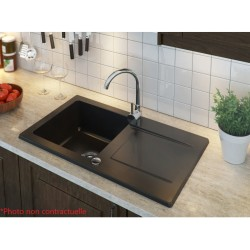 EVOG1GBNR - Évier 1 cuve granite avec égouttoir réversible noir