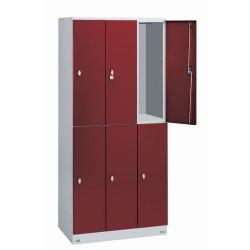 Armoire vestiaire rouge 6 cases - 3 colonnes