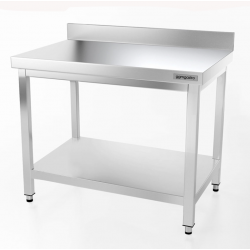 GGMGASTRO ATK107A - Table de travail inox adossées avec étagère