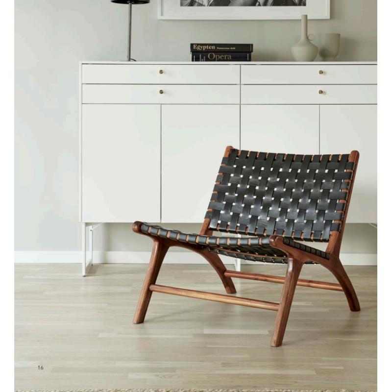 WIKHOLM FORM 53270 - Lot de 2 fauteuils Porto Teck  Cuir noir suédois